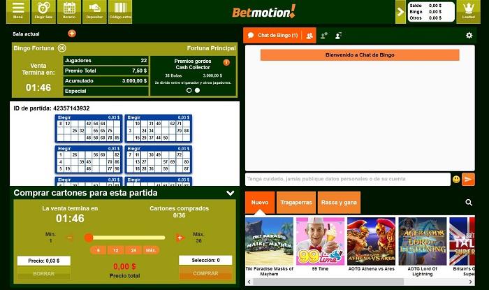 Cartones de bingo en Betmotion