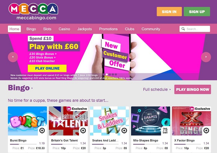 Mecca Bingo Online UK