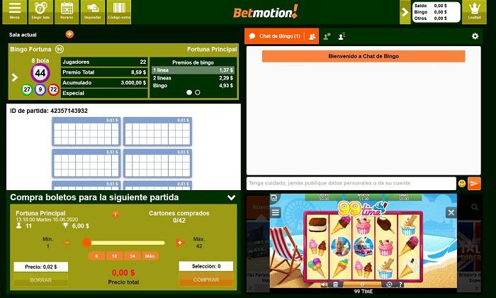 Mini juego de casino online en sala de bingo